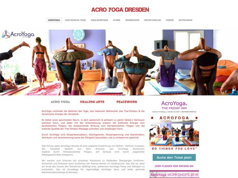 Acro Yoga Dresden Webseite