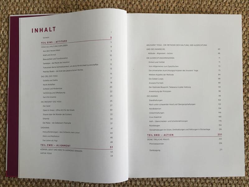 Anusara Yoga Buch von Barbra Noh - Inhaltsverzeichnis