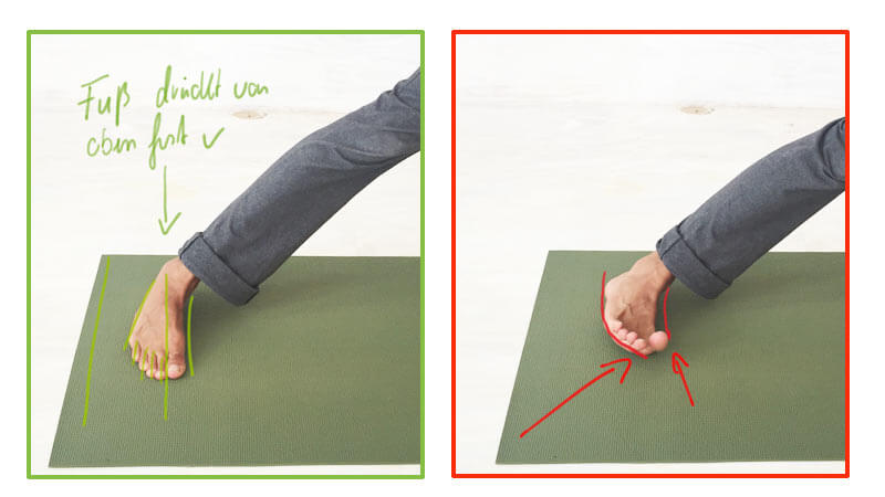 Fehler in Yoga-Übungen Füsse