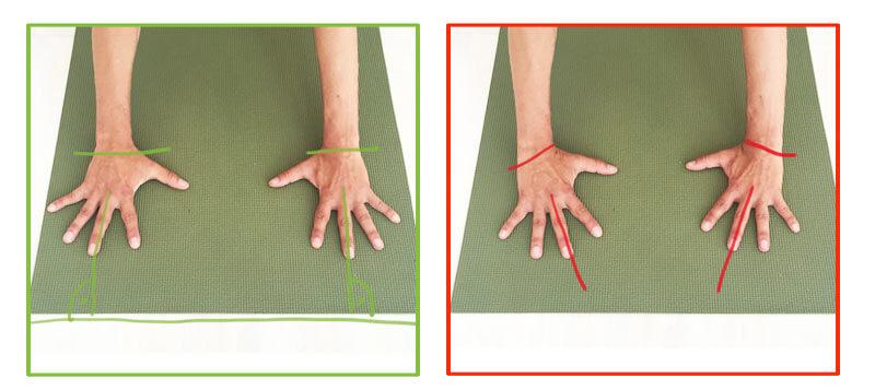 Fehler in Yoga-Übungen Hände