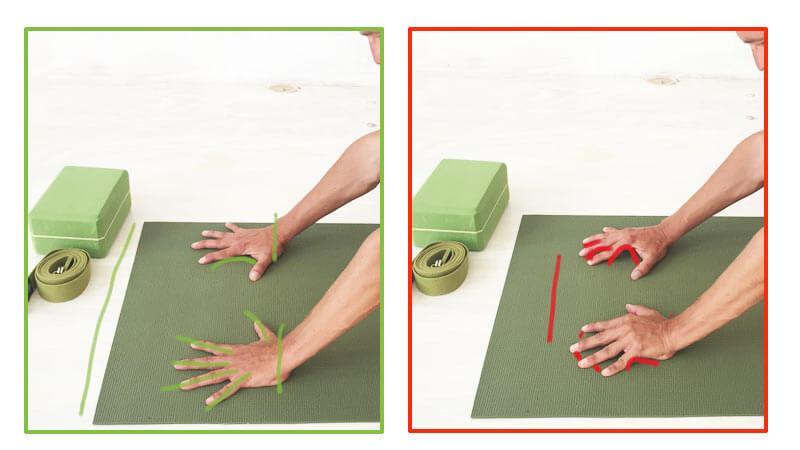 Fehler in Yoga-Übungen Handflächen