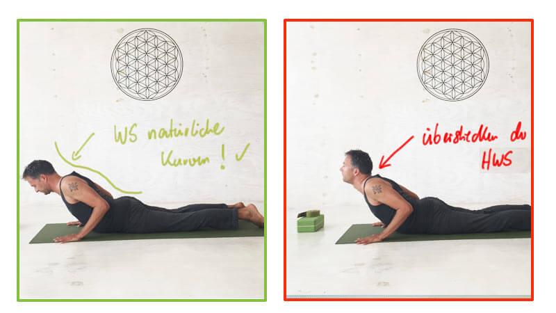 Fehler in Yoga-Übungen - Überstrecken Halswirbelsäule