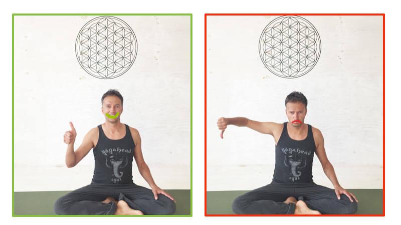Fehler in Yoga-Übungen - inneres Lächeln