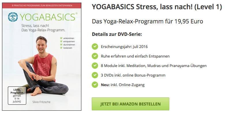 DVD Stress, lass nach - Jetzt auf Amazon kaufen und zu Hause entspannt Yoga üben