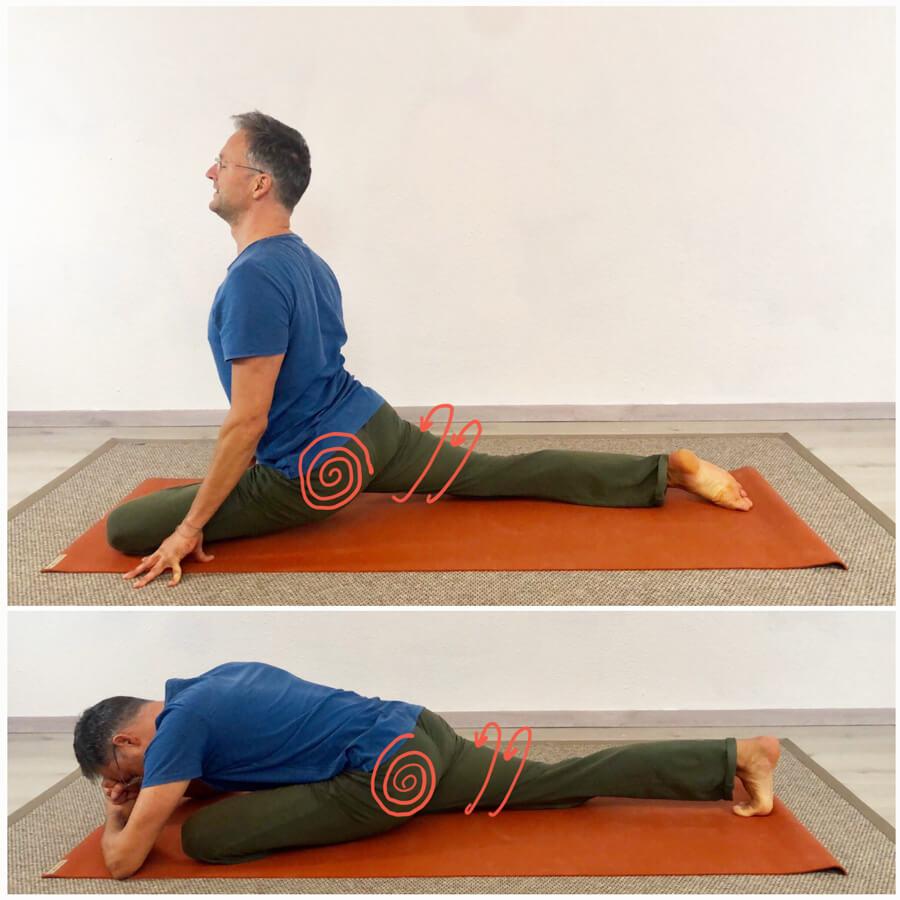 piriformis dehnen yoga übung taube
