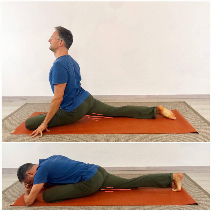 Psoas dehnen Yoga Übung Taube