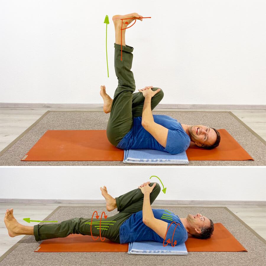 Hohlkreuz wegtrainieren mit Yoga Übungen Psoas Dehnung