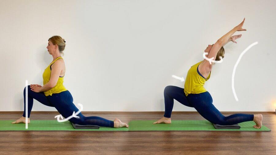 Kapha Yoga Ausfallschritt mit Rückbeuge